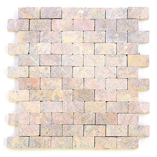 Divero 11 Fliesenmatten Naturstein-Mosaik aus Marmor für Wand und Boden zartrosa á 29 x 32 cm