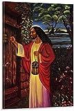 REGF Imprimir En Lienzo Jesús Negro Tocando la Puerta Jesús Negro Americano orando en Getsemaní Cartel Decorativo Sala de Estar Dormitorio 30x50cm Sin Marco