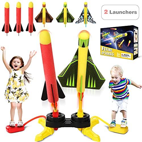 Flyfun Cohete Juguete, Juguete Cohete de Aire, 2 Lanzadores de Cohetes y 6 Cohetes de Espuma, Lanzacohetes de Juguete Juguetes de Jardín Regalo para Niños Niñas