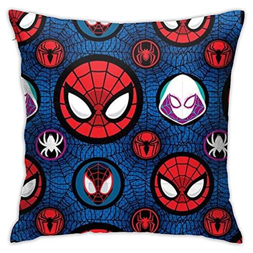 Spider-Verse American Comics The Amazing Spider-Man Avengers 4 Endgame Fantástica almohada de cuatro mantas, juego de cama, funda de almohada de oficina con antideslizante cuadrada de 45,7 x 45,7 cm