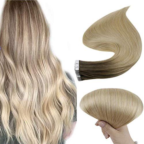 Easyouth Real Human Tape auf Haar für Frauen Farbe Mittelbraun Mix Honigblond und Platinblond-14 Zoll / 40g, Hautschuss Menschenhaar