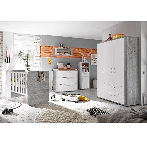 Storado Babyzimmer f. Zwillinge Frieda Set6 Vintage Wood Grey/weiß matt 10tlg Komplettset