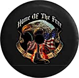 JL Spare Tire Cover Home Free Because Brave Military Rifle Flag Eagle with Backup Camera Hole Black 32 in