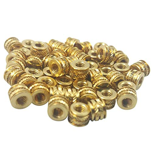PQZATX Threaded Heat,M3 3mm M3-0.5 Brass Threaded Metal Heat Set Screw Inserts for 3D Printing(50 Pcs)