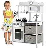 Kinderplay Cucina Giocattolo per Bambini - Grande Cucina per Bambini Legno Vintage Bianca Accessori, Cucina Legno Bambini, Gioco in Legno, Illuminazione a LED, GS0058