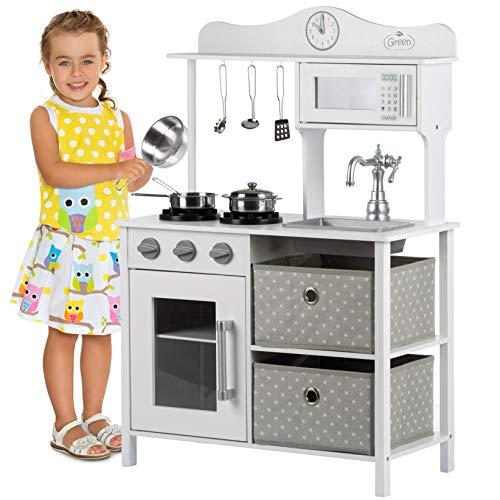 Kinderplay Cucina Giocattolo per Bambini - Grande Cucina per Bambini Legno Vintage Bianca Accessori, Cucina Legno...