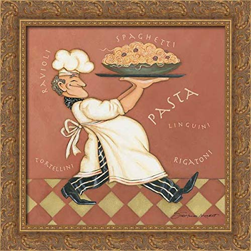 Marrott, Stephanie 20x20 Gold Ornate Framed Canvas Art Print Titled: Pasta Chef