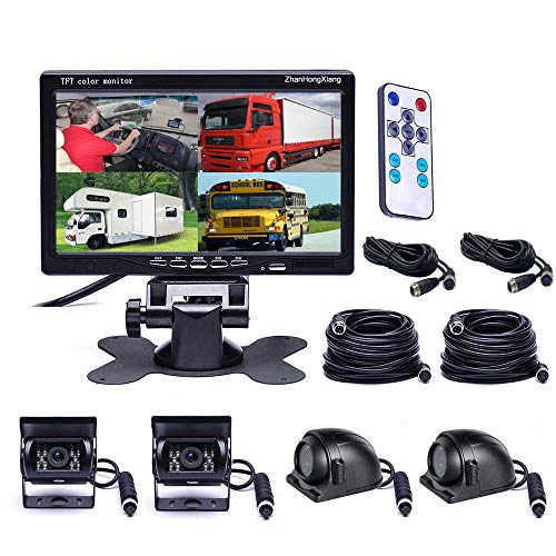 """Vehicle Backup Cameras Monitor System 12V/24V,4 x HD 1080P Front Side Rear View Camera + 7"""" inch Quad Split 4CH Car LCD IPS Monitor for RV Bus Truck Trailer Caravan Camper"""