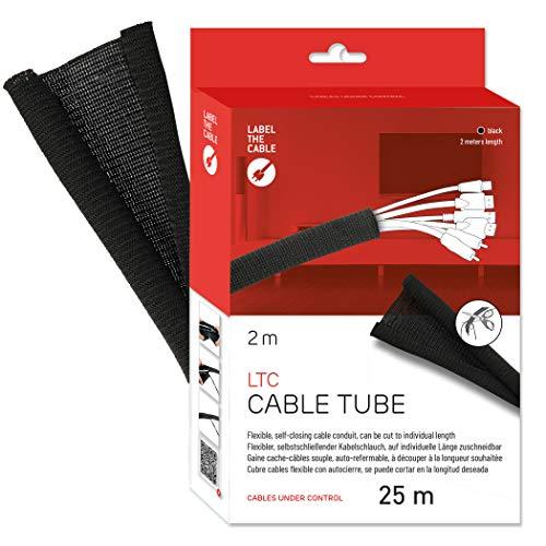 Label-the-cable Kabelschlauch / Kabelschutz / Kabelkanal: Gewebter Kabelmantel, Selbstschließend, zuschneidbar ohne Ausfransen, sehr Flexibel und robust, LTC CABLE TUBE, 2 m, Schwarz, LTC 5110