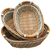 RT450100-3: Handwoven Wicker Storage Baset Curve Pole Handle Baskets in Brown (Set of 3)
