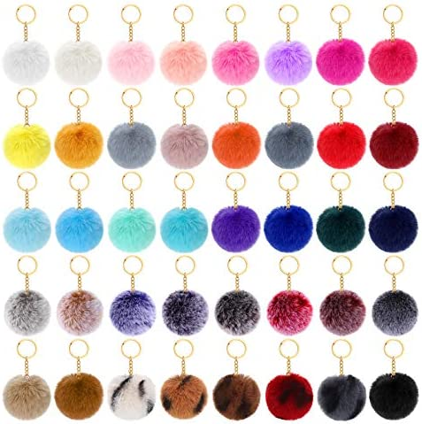 40 Pieces Fluffy Faux Fur Pompoms Keychains for Women Girls Decoration Favors 2 75 Inch product image