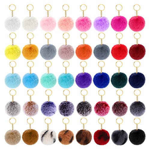 40 Pieces Fluffy Faux Fur Pompoms Keychains for Women Girls Decoration Favors, 2.75 Inch