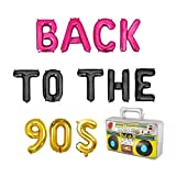 Back to The 90's Balloons, Retro Radio Back to The 90's Themed Decorations Party Banner Hip Hop 90th Birthday Party Supplies Banner Rock Punk Music Dance Disco Adult Birthday Banner 15Pcs of Geloar