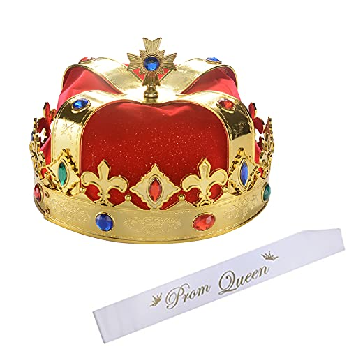 S SNUOY Royal Queen Crown Prom Queen Satin Sash Red Gold...