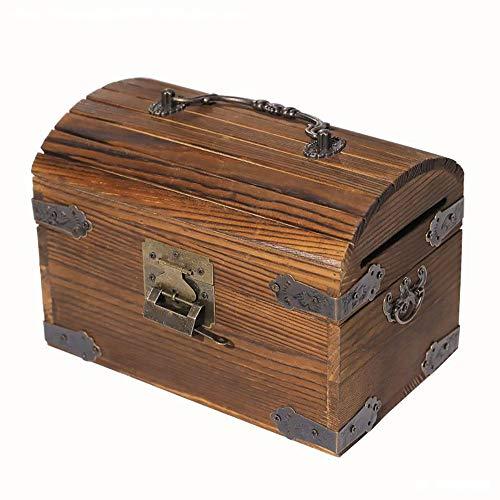 ZAKRLYB Anti-caída y duradera hucha con cerradura de madera antiguas monedas y billetes de almacenamiento Guardar dinero para niños adultos regalos adecuados para librería de escritorio Bookshelves TV