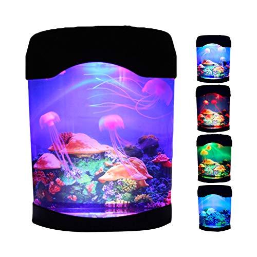 MLING Quallen Lavalampe Mini Schreibtisch Aquarium Lampe USB Aquarium Mood Light Portable, Für Das Home Office Hote(18 X 10 X 23 cm)