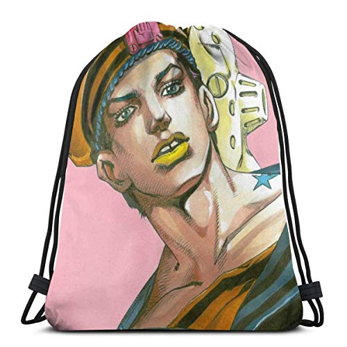 WH-CLA Drawstring Backpack Bags,Josuke Higashikata Jo-Jolion Drawstring Bags Stylish Gym Bag Colorful Sack Drawstring Foldable School Backpack For Girls And Boys