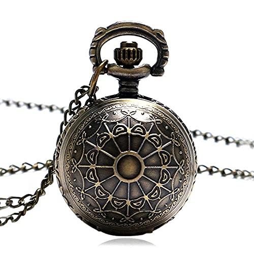 HYLK Reloj de Bolsillo Bronce Spider Web Ball Collar Colgante Reloj de Bolsillo Reloj con Cadena Mujer Lady Gifts (Color: Bronze)