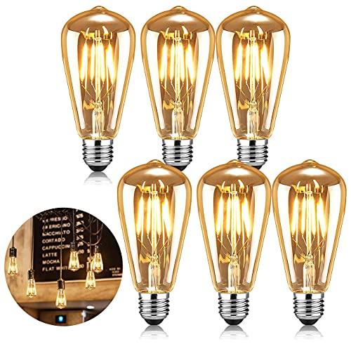 AVNICUD Vintage Edison Glühbirne, LED E27 Lampe 4W/220V ST64 Retro Filament Glühlampe,Warmweiß 2500K Glühbirnen Dekorative Antike Beleuchtung Leuchtmitte (6 Stück)