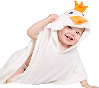 Organic Bamboo Hooded Baby Towel Poncho and Washcloth Mitt - Duckling - Antibacterial, Hypoallergenic - Large Size for Newborns to Small Children - Bae B Talk