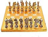 Metal India Juego de ajedrez Hecho a Mano de Madera, Hierro y Acero (Tablero de ajedrez) para Juego