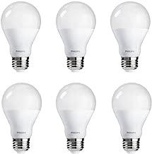Philips LED Dimmable A19 Frosted Light Bulb: 800-Lumen, 3000-Kelvin, 9.5-Watt (60-Watt Equivalent), E26 Base, Bright White, 6-Pack