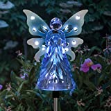 Exhart Solar Garden Stake Lights – Blue Acrylic Angel Stake Memorial Gift w/ 12 Solar LEDs in The Wings - Solar Angel Lights Perfect as Angel Remembrance Gifts & Sympathy Gifts (4' W x 34' H)