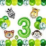 Globo 3,Selva Fiesta de Cumpleaños Decoracion,Globos Grandes de Cumpleaños,3 Globo Cumpleaños,Decoracion Cumpleaños Niño 3 Años