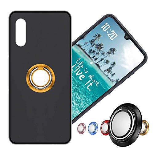 Hülle für Alcatel Flash Plus 2 Schutzhülle Etui Matte Oberfläche Design,Weich Silikonhülle Bumper Hülle Alcatel Flash Plus2 Hülle+360°Handy Ringhalter Phone Fingerhalter MEHRWEG,03 Gold