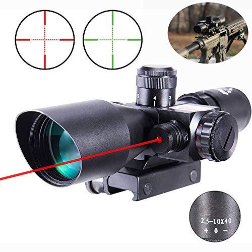 MUJING Zielfernrohr 2,5-10x40 Rot Grün Beleuchtete Mil-Dot-Pistolen-Zielfernrohre für taktisches Visier Militärgewehrvisier / 20 mm