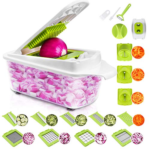 23 Pieces Vegetable Cutter Sedhoom Fruit Cutter Vegetable Choppers Mandolin Slicer Onion Chopper Food Chopper Veg Chopper Dicer Julienne Spiral Grater Peeler Egg Cutter with Container