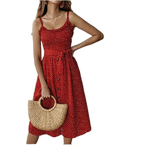 Vestido De Playa para Mujer, Vestido De Lunares, Botón De Lazo Plisado, Correa De Espagueti, Vestido Midi Sin Espalda para Vestidos Largos Casuales Diarios Al Aire Libre,Rojo,S