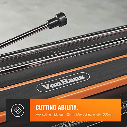 VonHaus Manual Tile Cutter 600mm – Tungsten Carbide Scoring Wheel – Straight Edge Accurate Measurement Guide – Cuts Ceramic, Glazed Floor & Wall Tiles