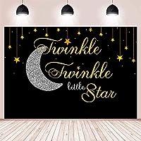 NEWキッズチャイルズボーイきらきら星の写真の背景のバナーメーカー写真の小道具ビニール10x7ftためのスリヴァー月ゴールドスターベビーShowrパーティーの装飾の背景