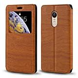 ZTE Nubia Z11 Max Case, Wood Grain Leather Case with Card