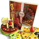 bee SMART - Juego de 18 Piezas de Madera para Tarta de cumpleaños, diseño de arcoíris