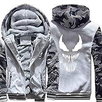 男性用フリースウィンドビーカーフード付きジャケットコートポケット付きウィンタージャケット (Color : Light gray, Size : XL)