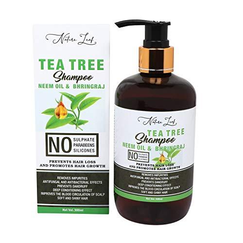 nature leaf Tea Tree Hair Shampoo Neem Oil & Bhringraj, No Sulphate, No Parabeens,No Silicones Men & Women (300 ml)