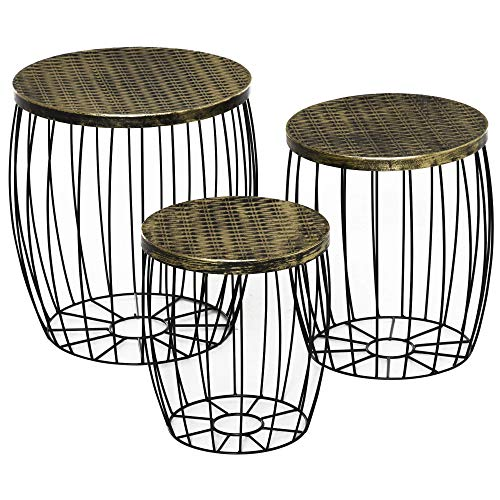 HOMCOM Lot de 3 Tables Basses gigognes Tables d'appoint Rondes encastrables Style néo-rétro métal Noir doré