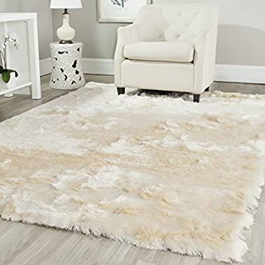 Safavieh Paris Shag Collection SG511-1212 Ivory Polyester Area Rug (6' x 9')