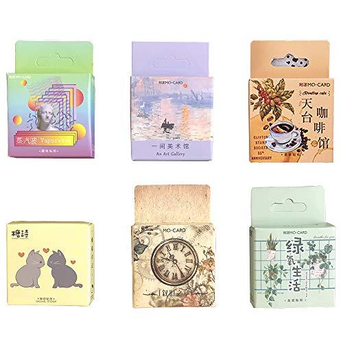WJGJ Cute Stickers Set, Mini Green Oxygen Life Misty Forest Art Museum y Cute Cat para adolescentes/Grils Crafts Scrapbooking Decoración Pegatinas