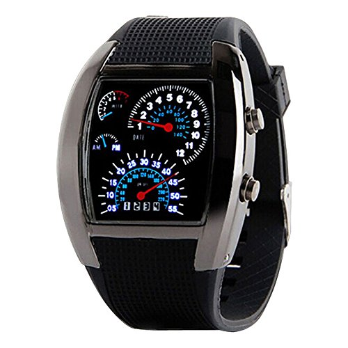 TONSEE Fashion Mens RPM Turbo Blue Flash LED Watch Gift Sports Watches Car Meter Dial (Black)