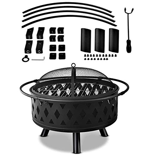 Find Bargain DQY Fire Pit Garden, Backyard Black Brazier, Beach with Lid Stove Metal Grill, Park Cam...