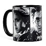 Harry Potter - Tazza con motivo del finale con i personaggi Harry, Hermione e Ron - Ceramica - Nero e bianco