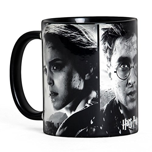 Harry Potter Finale Tasse mit Harry Hermine Ron aus Keramik schwarz weiss
