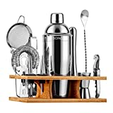 Soing 11-Piece Silver Bartender Kit,Perfect Home Cocktail Shaker Set for Drink Mixing,Stainless Steel Bar Tools with Stand,Velvet Carry Bag & Cocktail Recipes Cards (Silver)