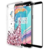 OnePlus 5T Case with Tempered Glass Screen Protector, Rosebono Quicksand Glitter Sparkly Bling Cute Liquid Shiny Luxury Clear Soft TPU Bumper Protective Cover for OnePlus 5T (Pink)