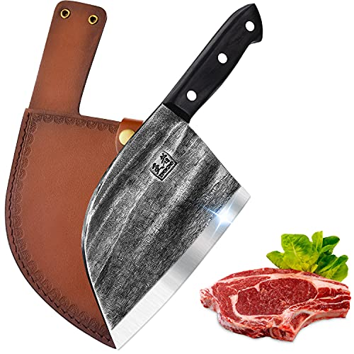 ENOKING Serbian Chef Knife Meat Cleaver Forged Butcher Knife with Full Tang Handle Leather Sheath...