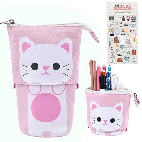 Bolsa telescópica para lápices con diseño de gato de dibujos animados, bolsa de maquillaje con cierre de cremallera (D)