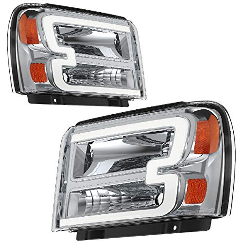 OEDRO LED DRL Headlights Compatible with 2005 2006 2007 Ford F250 F350 F450 F550 Super Duty, Headlamps w/Daytime Running Light Tube, Clear Lens, Chrome Housing